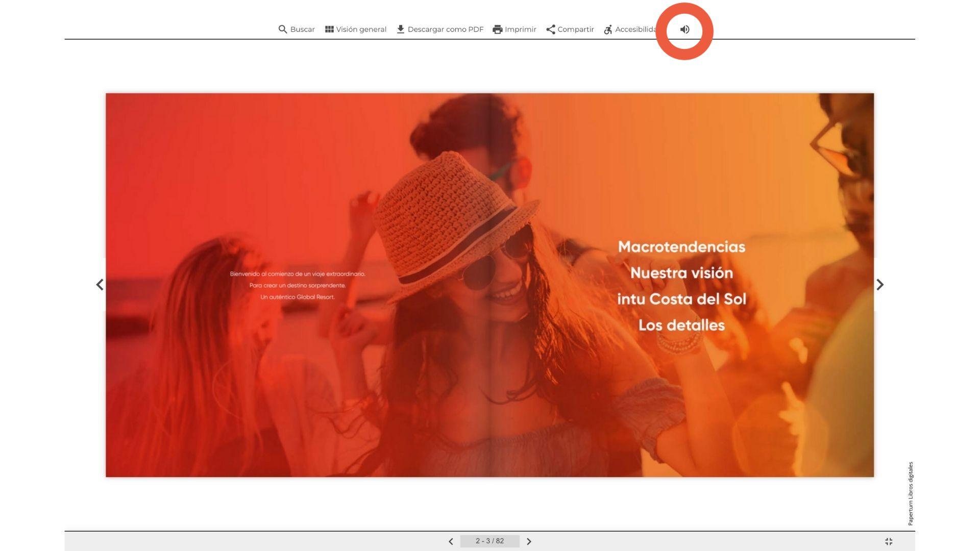 Captura de pantalla que muestra el flipbook abierto y la opción de música de fondo en acción.
