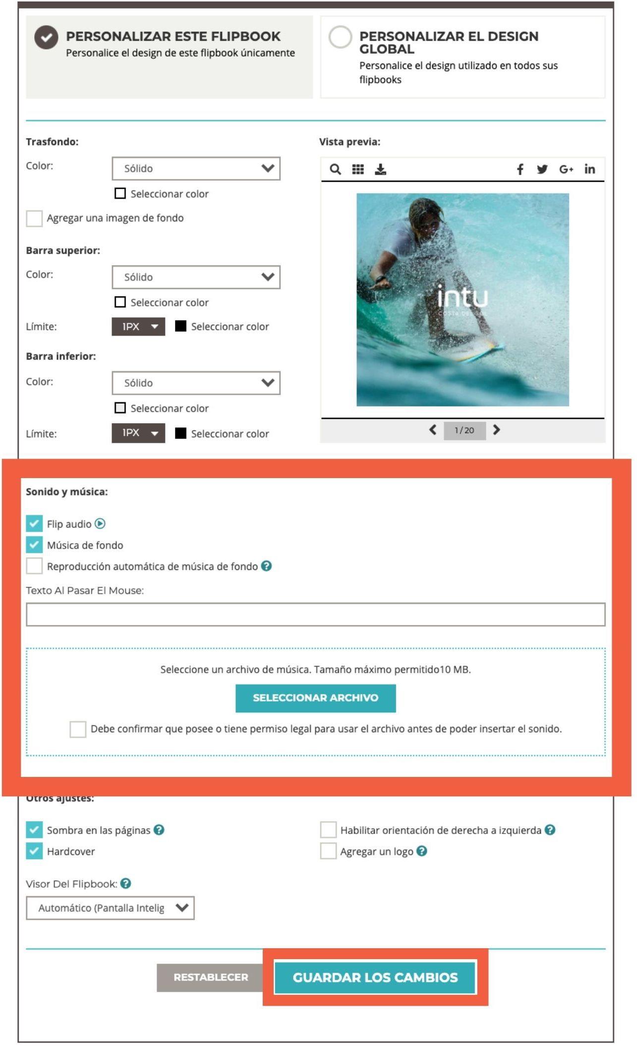 Captura de pantalla que muestra las opciones al agregar música de fondo a su flipbook (cargar archiv