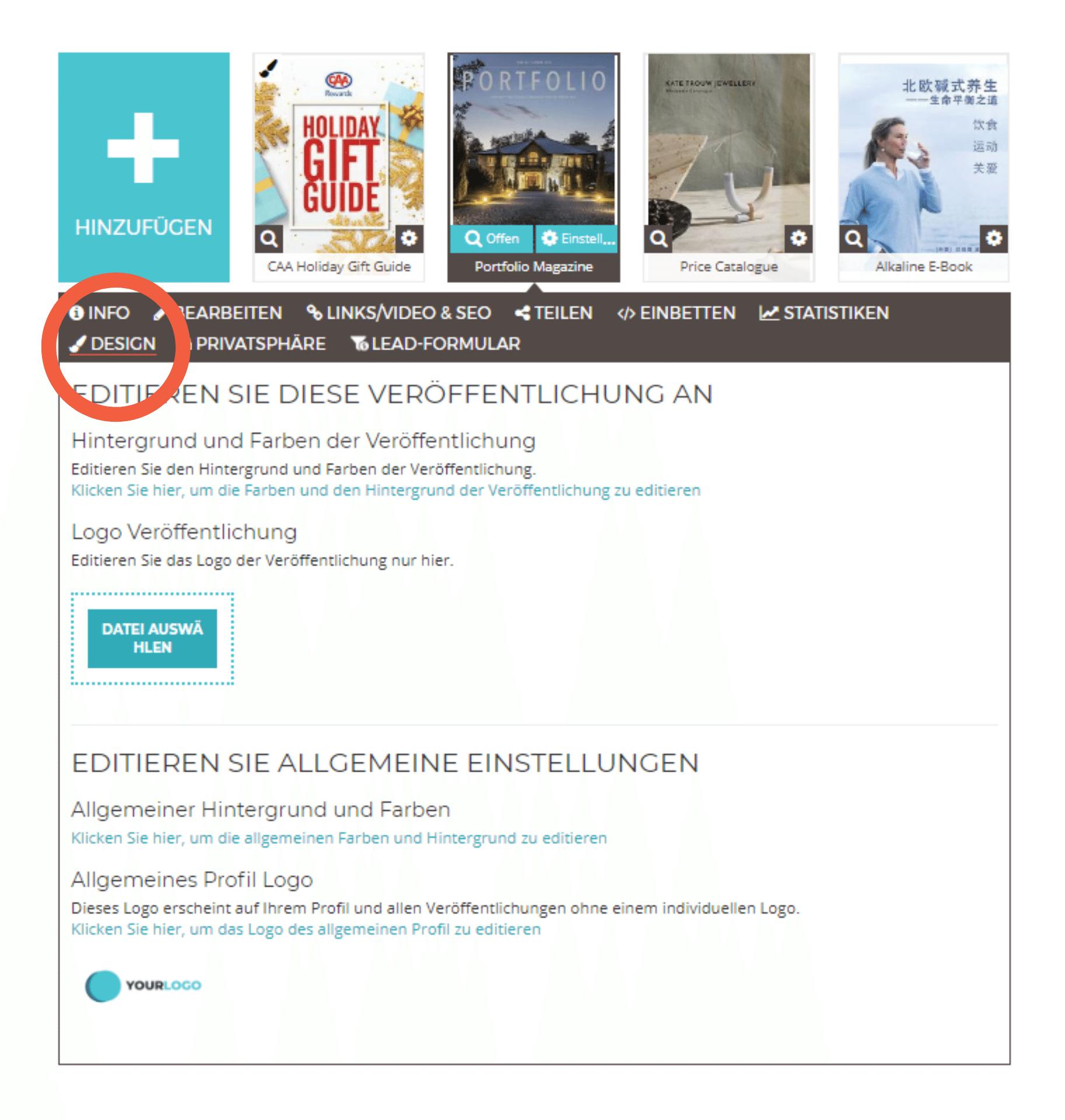 Design-Einstellungen des geöffneten Flipbooks