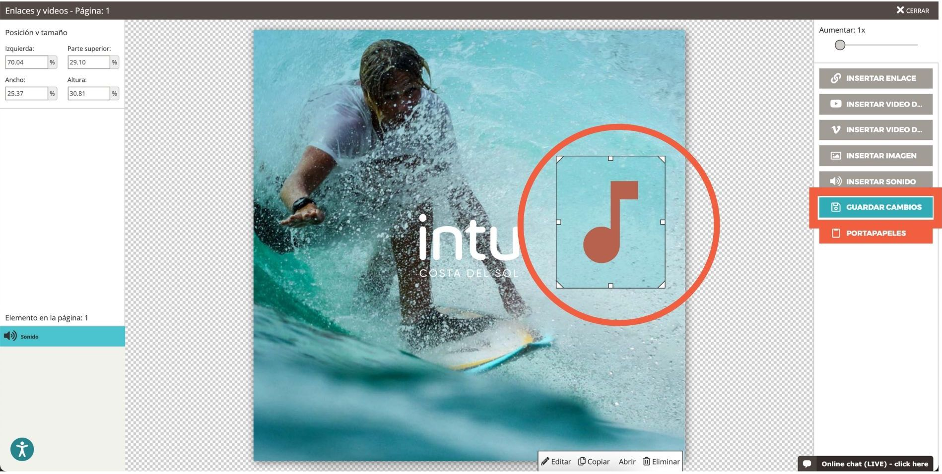 Captura de pantalla que muestra el icono de sonido agregado al flipbook y la capacidad de cambiar su