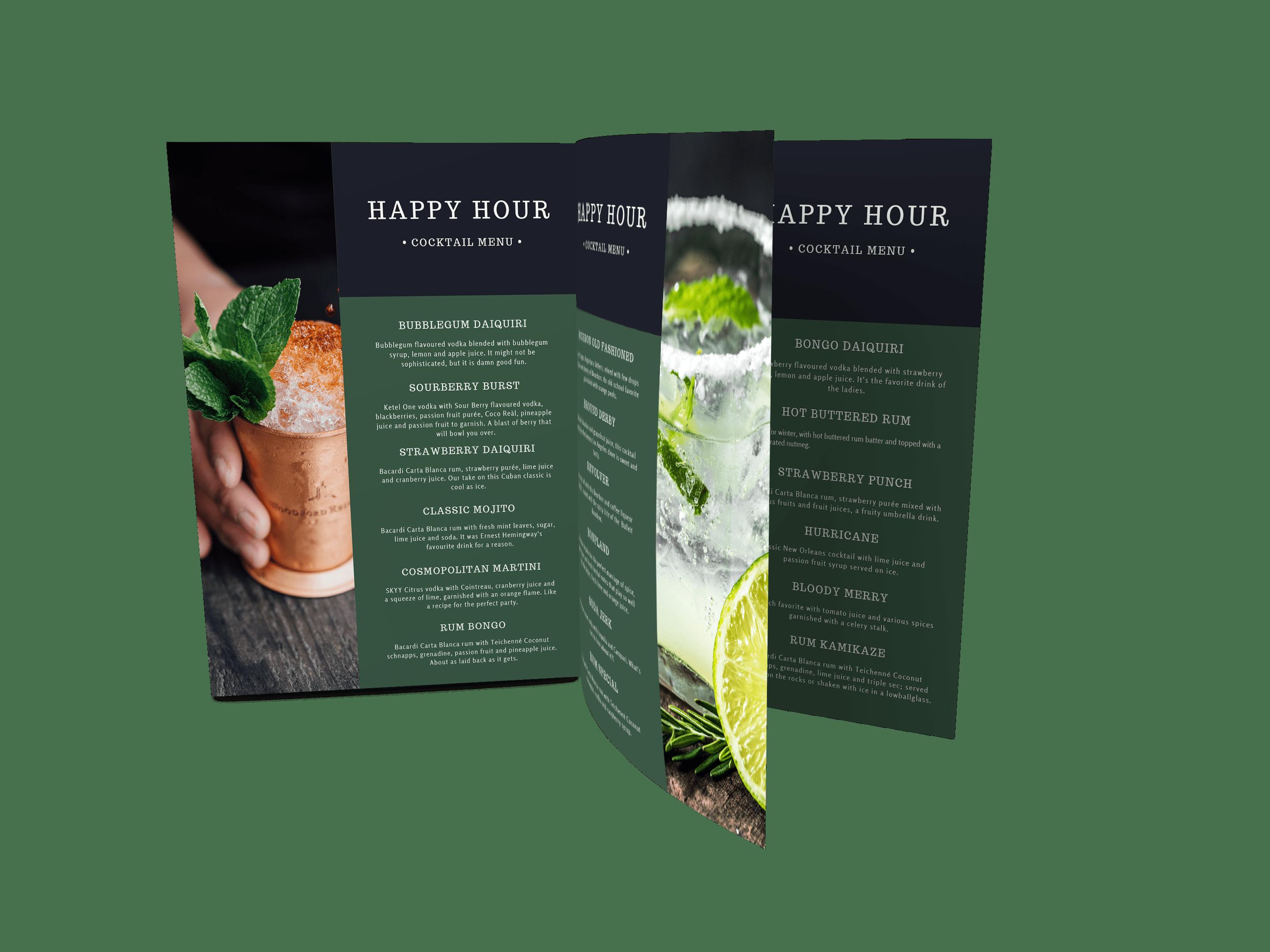 Create online menus  - digital menu card showing 3 pages