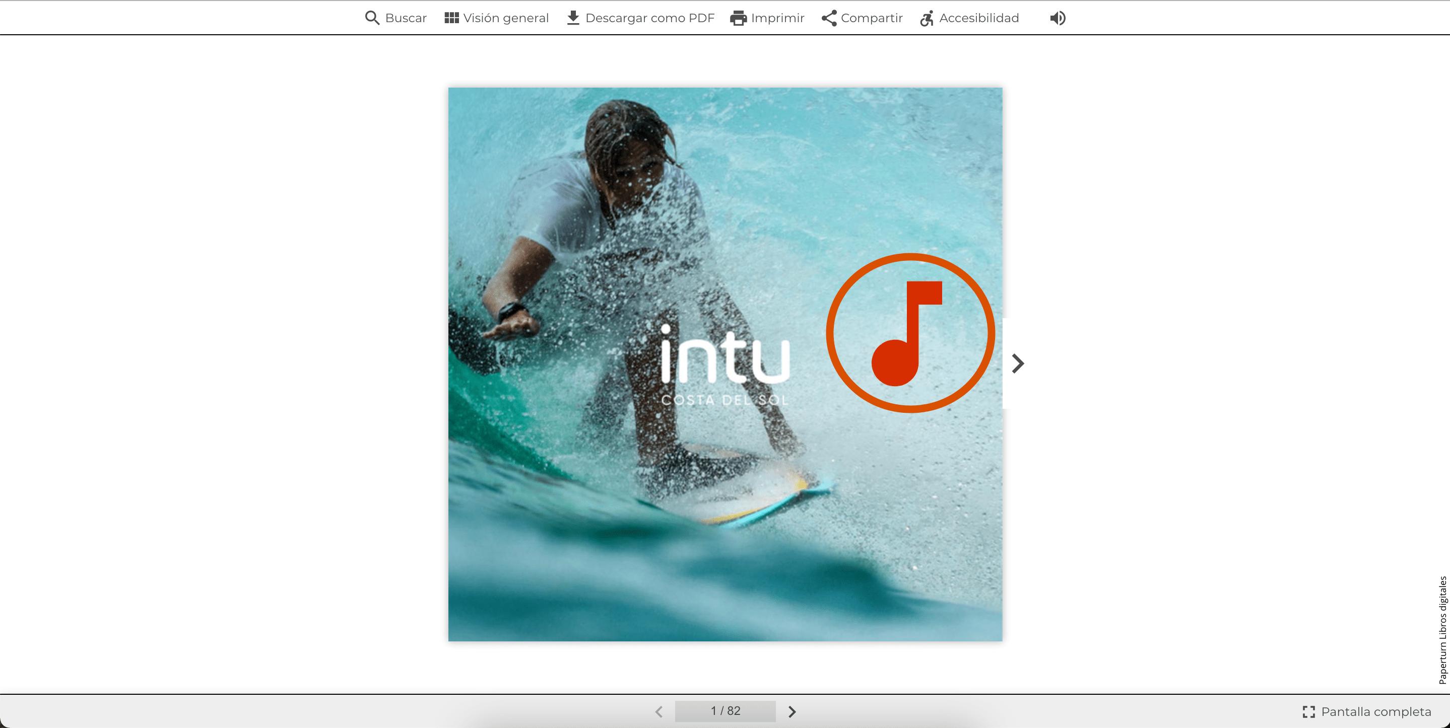 Captura de pantalla que muestra el flipbook en vivo con un efecto de sonido insertado en la página.