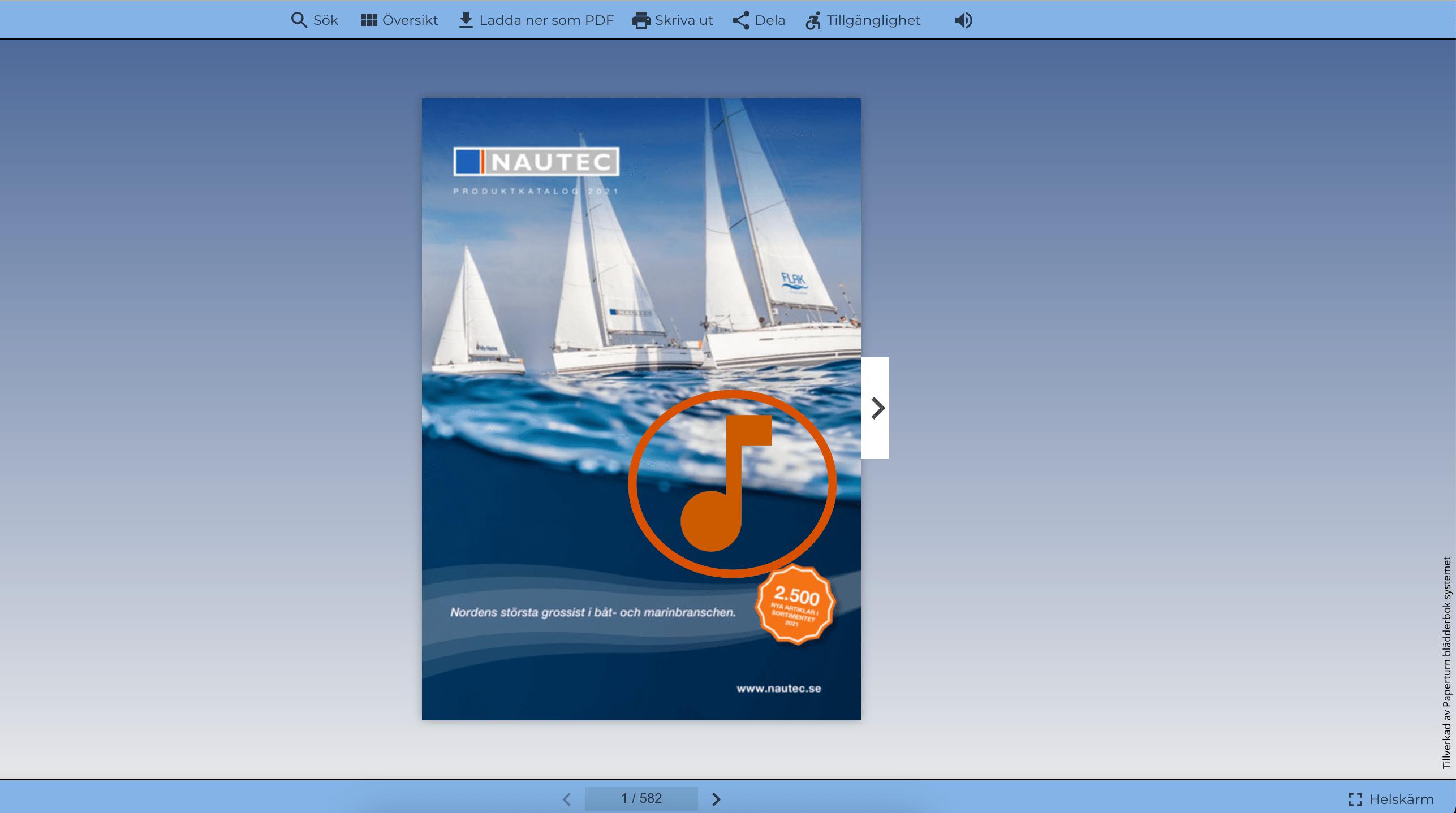 Skärmbild som visar blädderboken live med den infogade ljudeffekten på sidan.