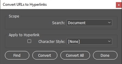 How to convert URLs to hyperlinks in InDesign