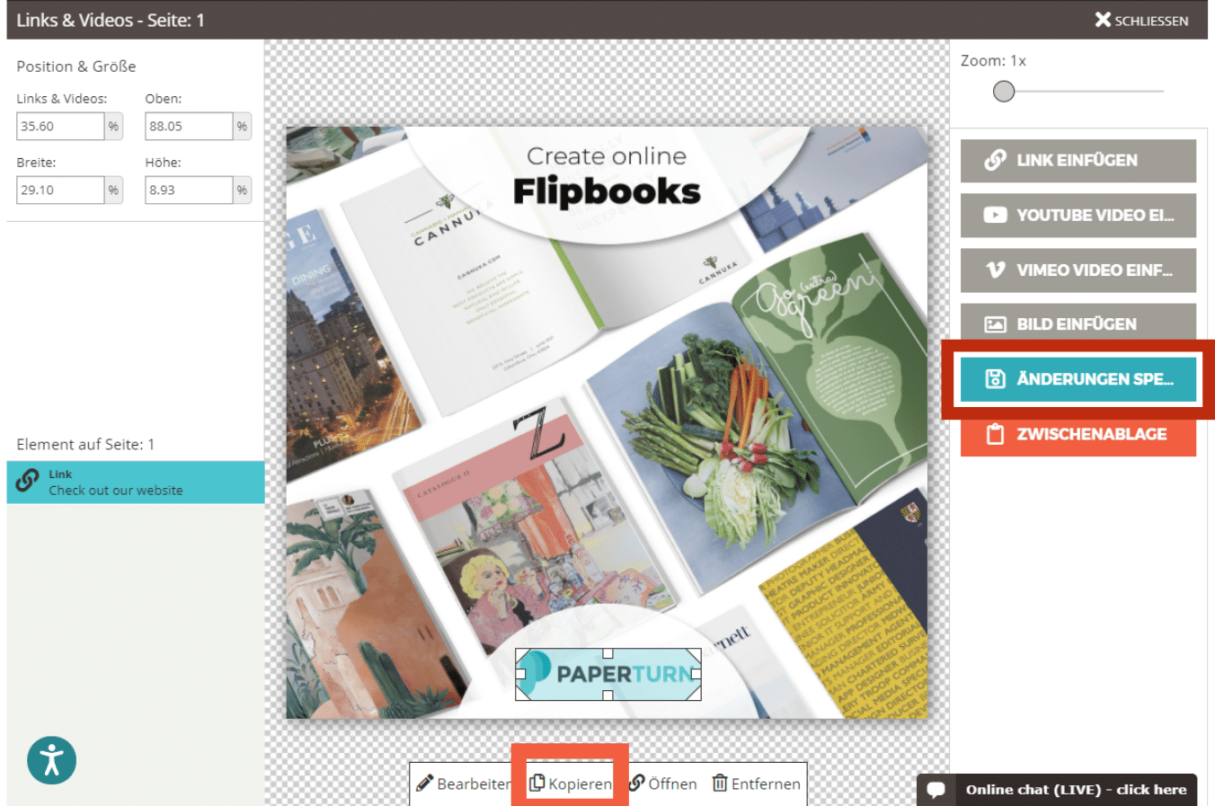 Paperturn Flipbook-Editor mit den Buttons