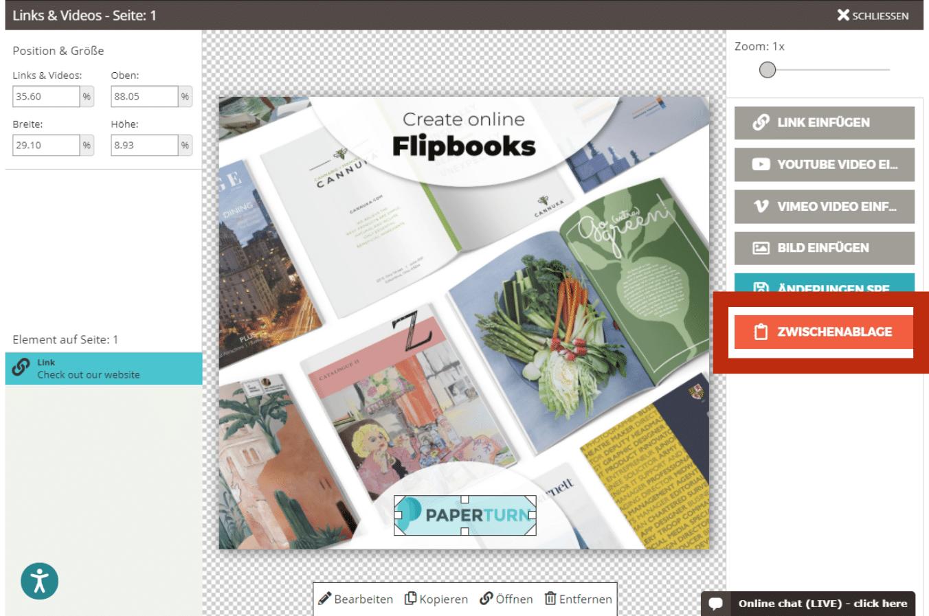 Paperturn Flipbook-Editor mit