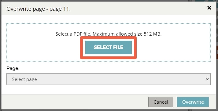 """Click the """"SELECT FILE"""" button in the pop-up that appears"""