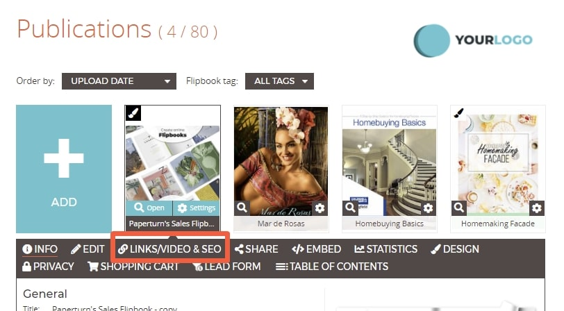 The Paperturn dashboard displays your publications and the LINKS/VIDEO