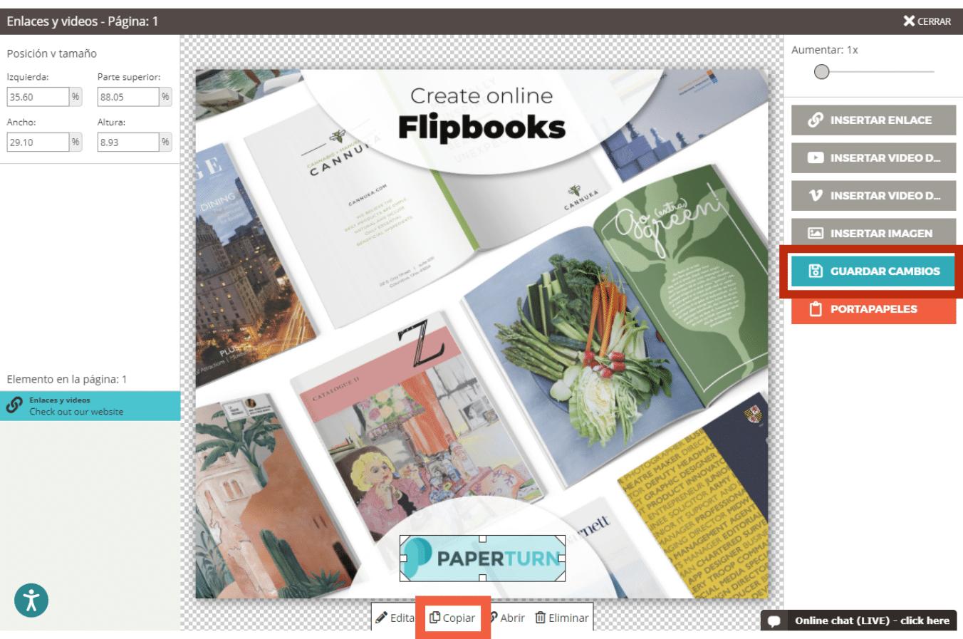 Editor de flipbooks de Paperturn con los botones