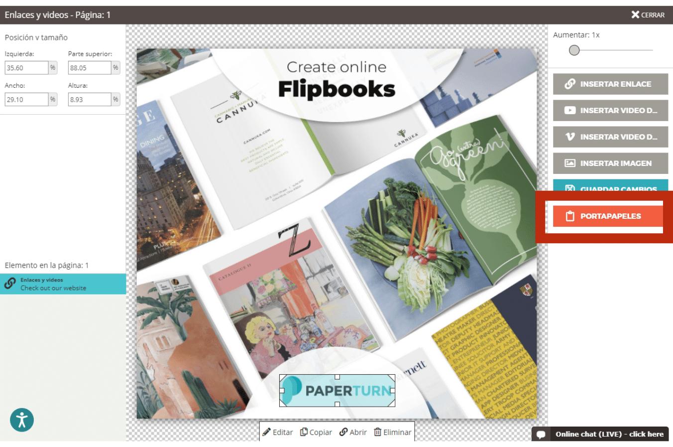 Editor de flipbooks de Paperturn con el botón