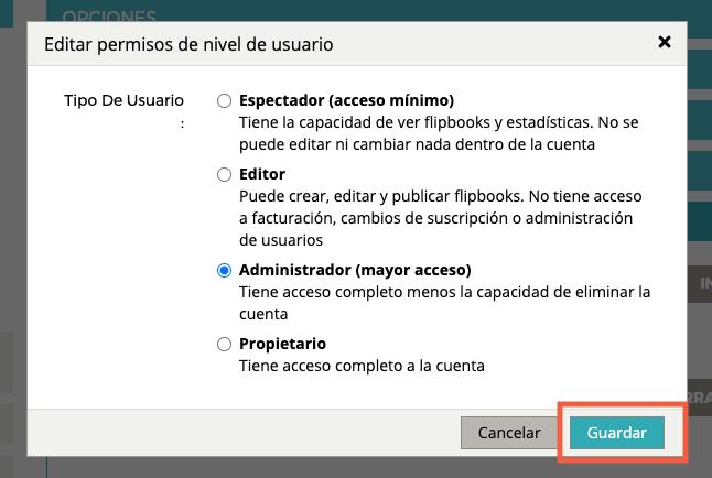 """Aparece la ventana pop-up """"Editar permisos de nivel de usuario"""". Se resalta el botón """"GUARDAR""""."""