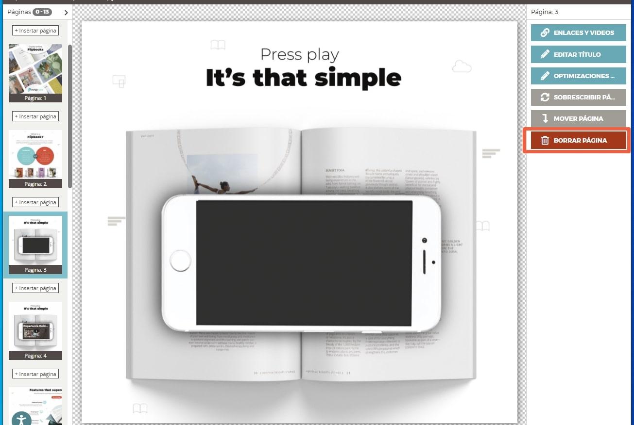 Desde el editor de Paperturn, seleccione la página que desea eliminar