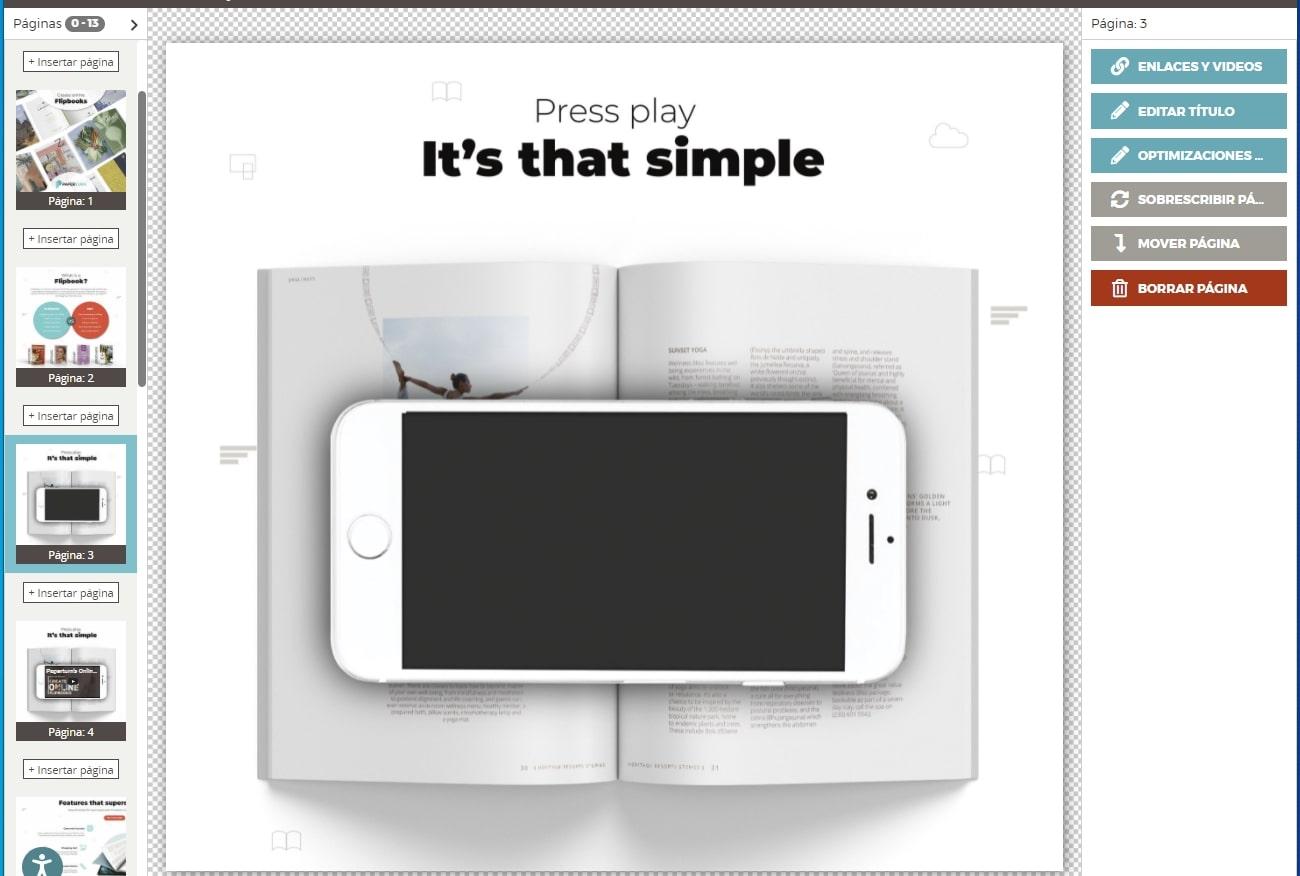 La página recién agregada se muestra en el editor.