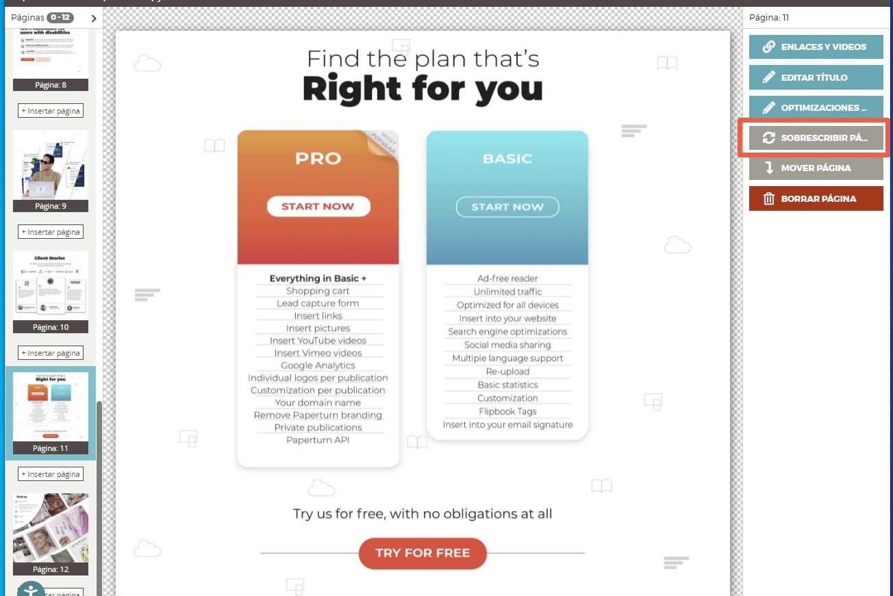 En el editor, seleccione la página que desea sobrescribir y haga clic en
