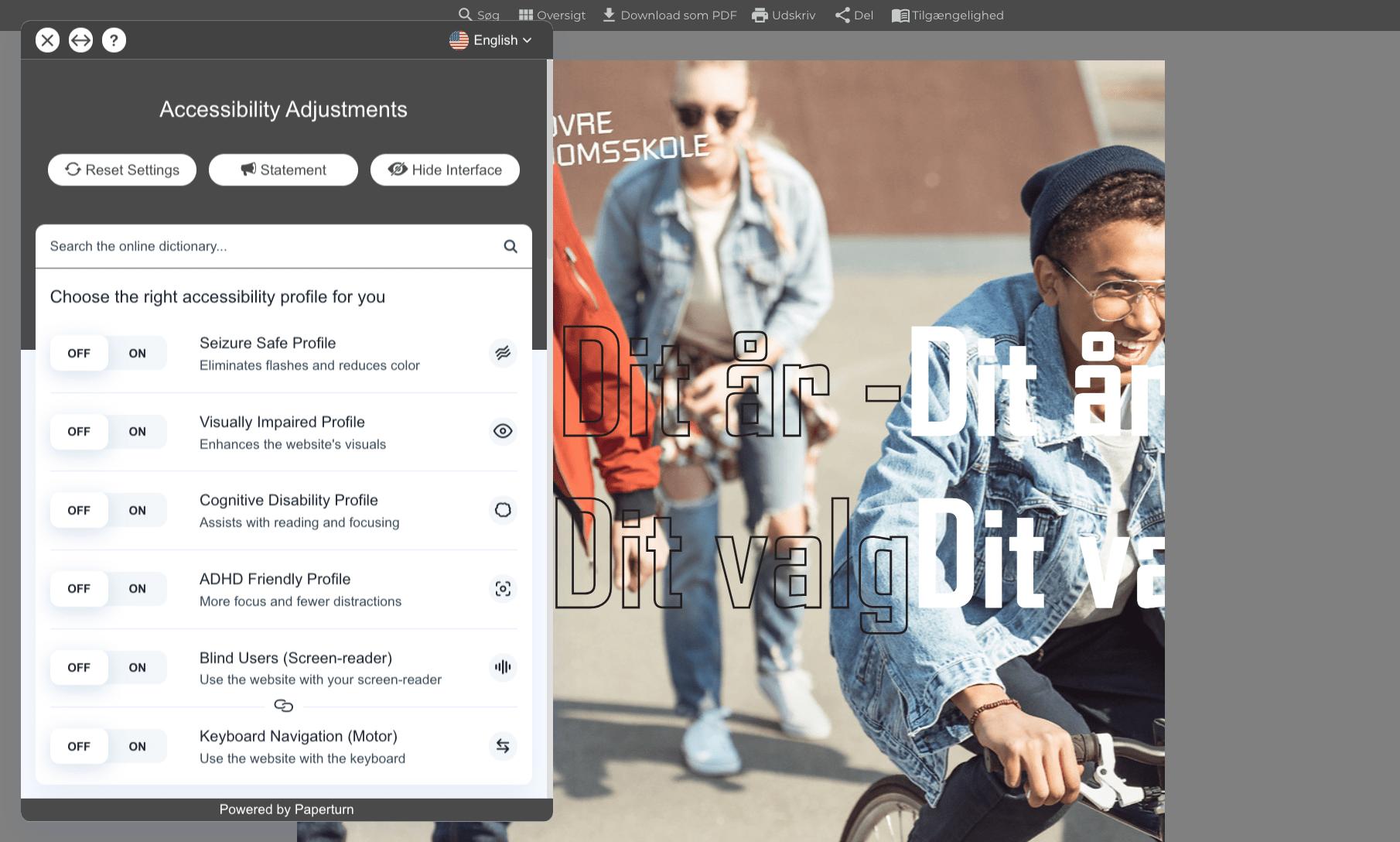 Flipbook tilgængelighed - Tilgængelighedsværktøj 2