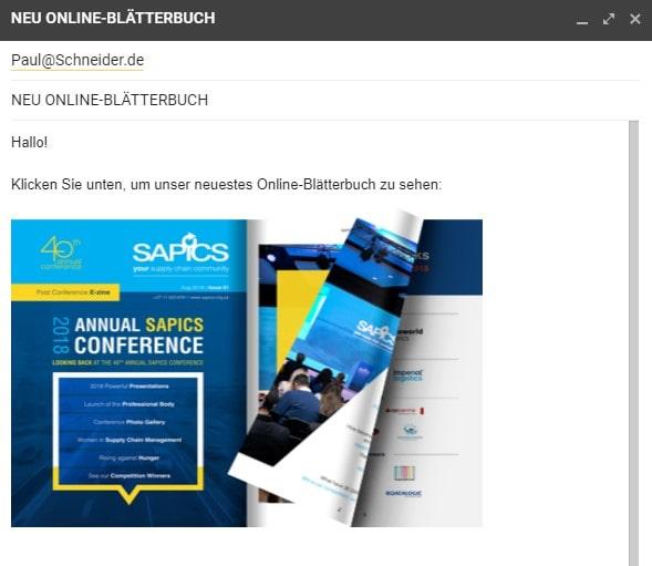 E-Mail mit eingefügtem Flipbook