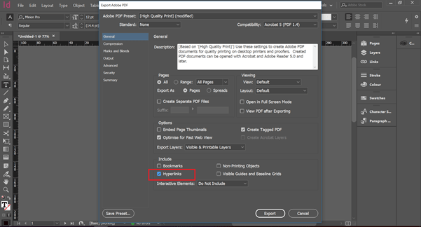 InDesign dashboard showing where to preserve hyperlinks from PDF