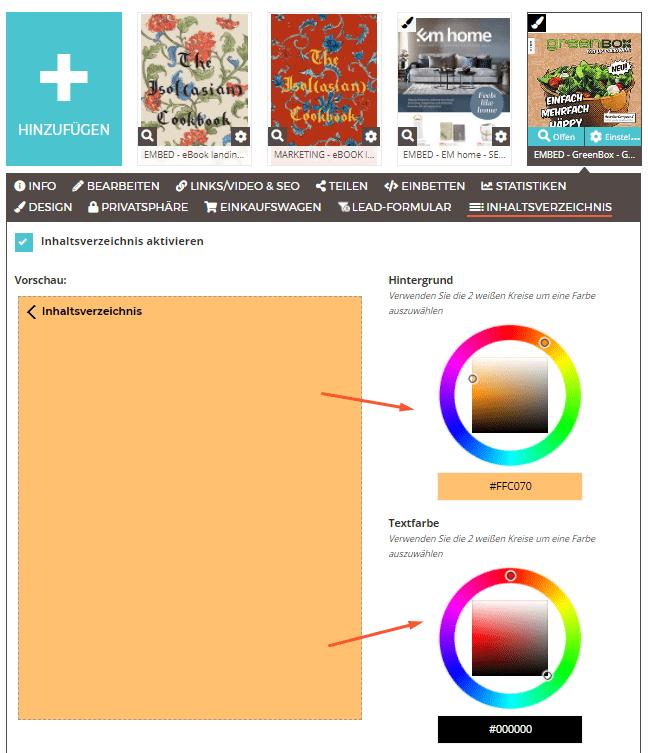 Wie du ein Inhaltsverzeichnis in deinem Flipbook aktivierst - Anpassung