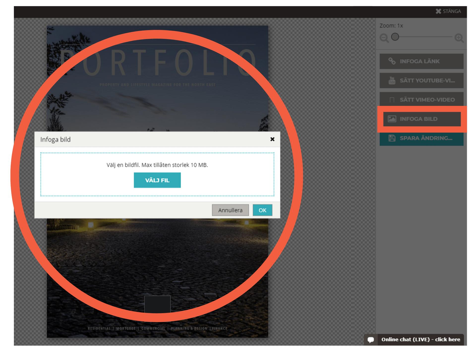 Välj en bild eller GIF-fil via Paperturn-redigeraren