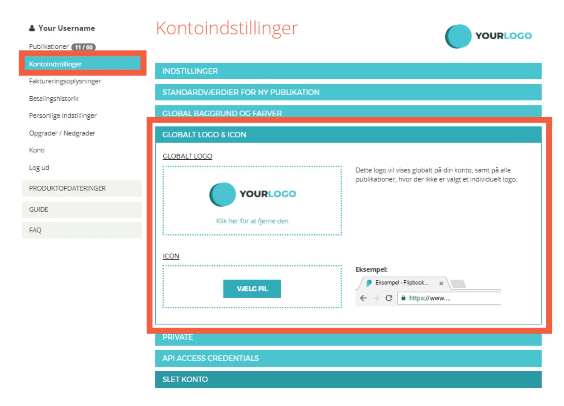 Udklip fra hjemmeside, hvor der vises at fanen Kontoindstillinger er valgt. En orange firkant omkredser fanen Globalt Logo & Icon