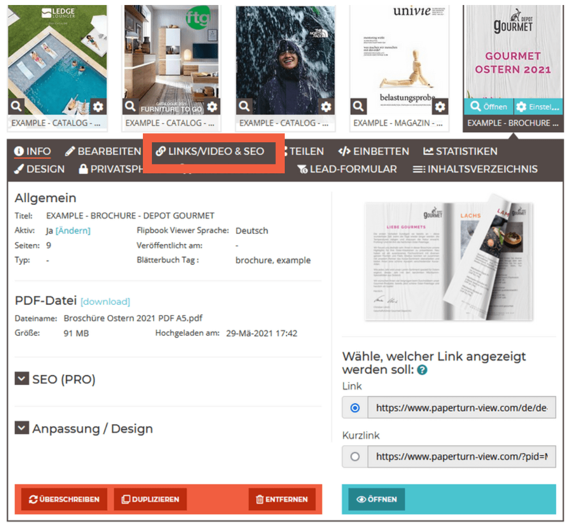 Bild des Flipbook-Dashboards mit den skizzierten Links/Videos und SEO-Menüoption.