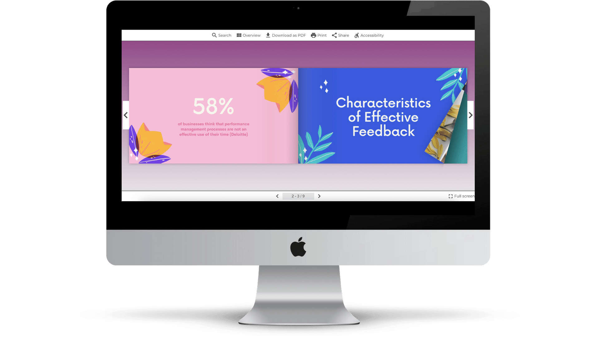 Example - Online Presentation Flipbook on iMac