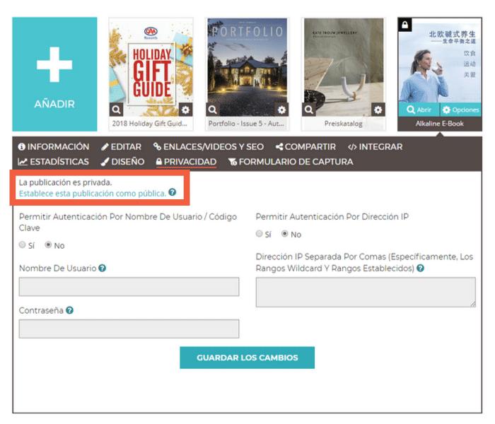 Haz clic en Establecer Publicación como Pública en la esquina superior izquierda, en la pestaña Privacidad