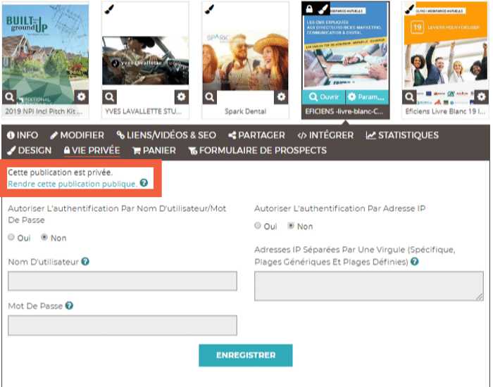 Changement de la publication de votre flipbook du privée au public