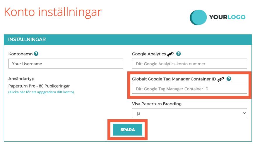 """Fliken """"Kontoinställningar"""" är öppen. Fältet Google Tag Manager Container ID är markerat tillsammans med knappen SPARA."""