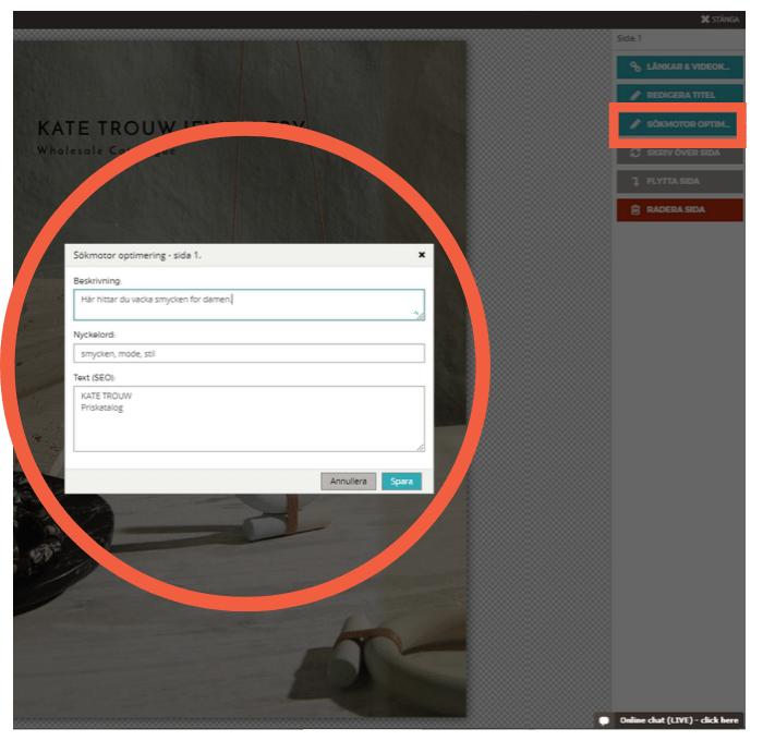 Klicka på Sökoptimering i Paperturns Redigerare och fyll i alla textfält för var och en av sidorna