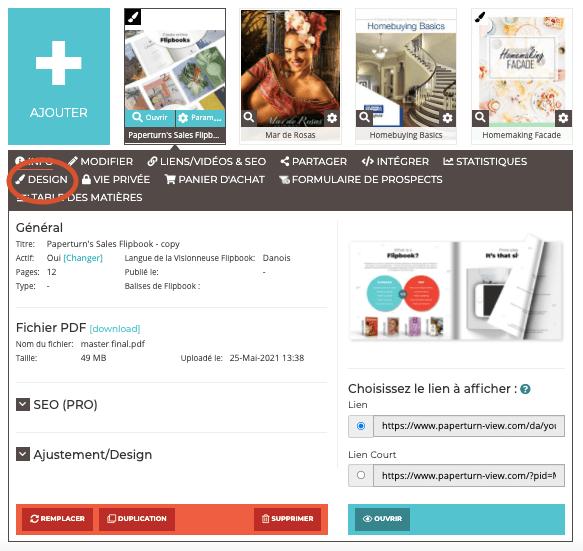 Capture d'écran du tableau de bord avec un flipbook ouvert sur les paramètres du design.