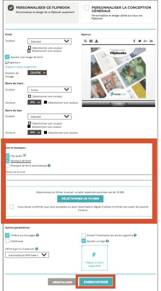 Capture d'écran montrant les options permettant d'ajouter la musique de fond à votre flipbook (télé