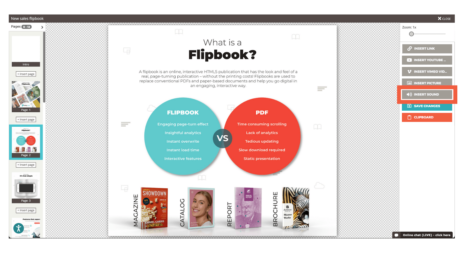 """Screenshot of the flipbook editor and the menu option to """"insert sound"""" is highlighted"""