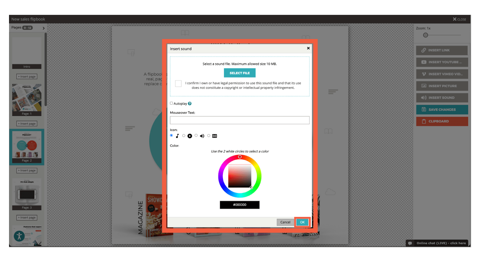 Screenshot showing the various options when adding sounds into the flipbook (select .mp3 file, icon