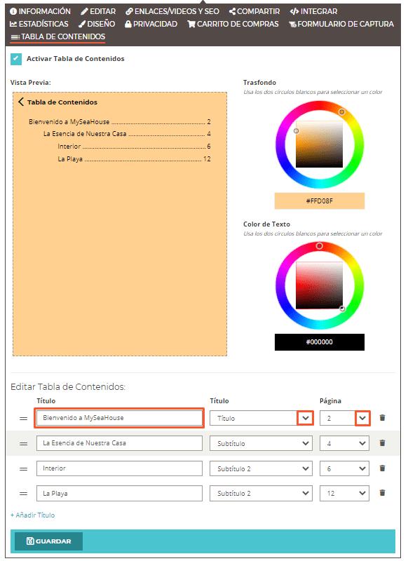 Cómo habilitar una  Tabla de Contenidos en su Flipbook - Agregar títulos - Paso 2