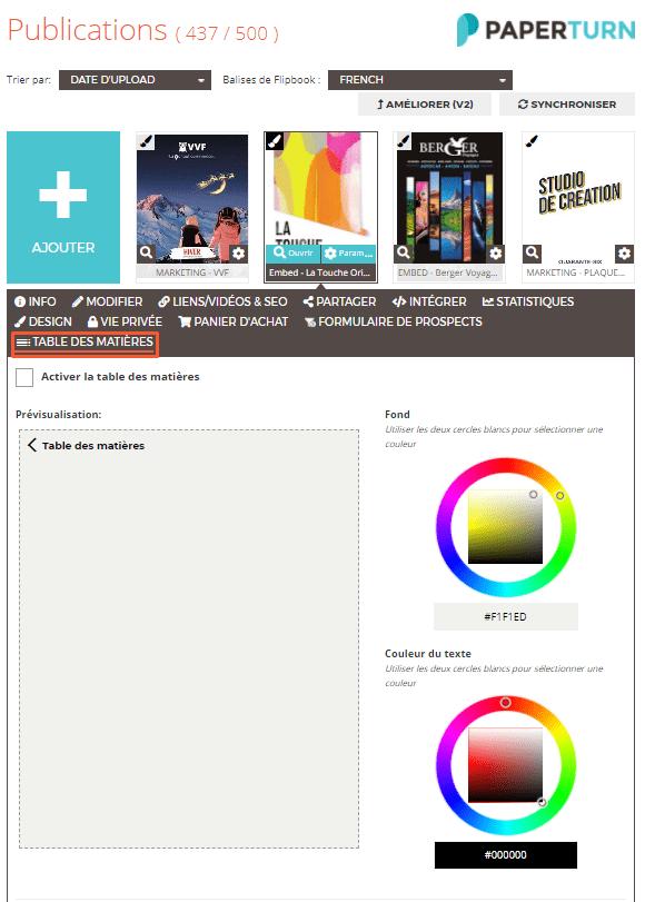 Comment Activer une Table des Matières sur Votre Flipbook - Activation Étape 1