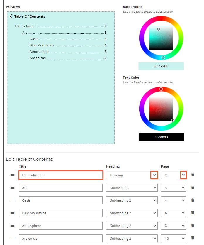 Comment Activer une Table des Matières sur Votre Flipbook - Ajouter les Titres Étape 2