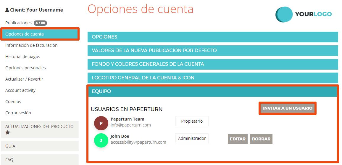 """La configuración de la cuenta de un usuario está abierta. La pestaña """"Equipo"""" junto con la opción """"Invitar a un usuario"""" están resaltadas"""