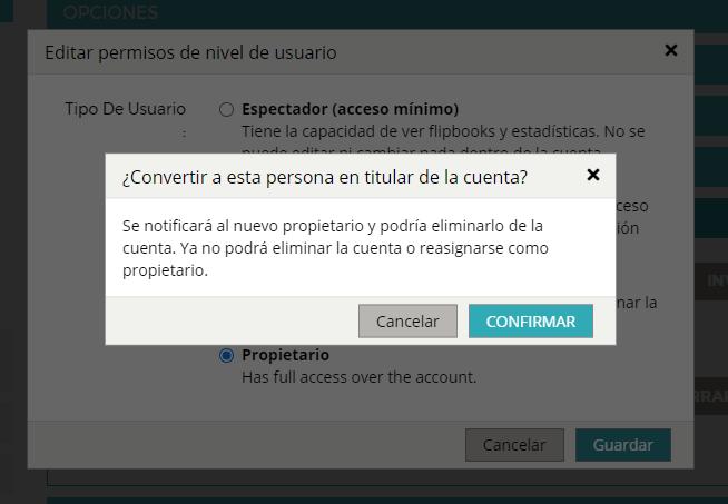 Aparece una ventana pop-up que solicita la confirmación del usuario para transferir la propiedad de la cuenta