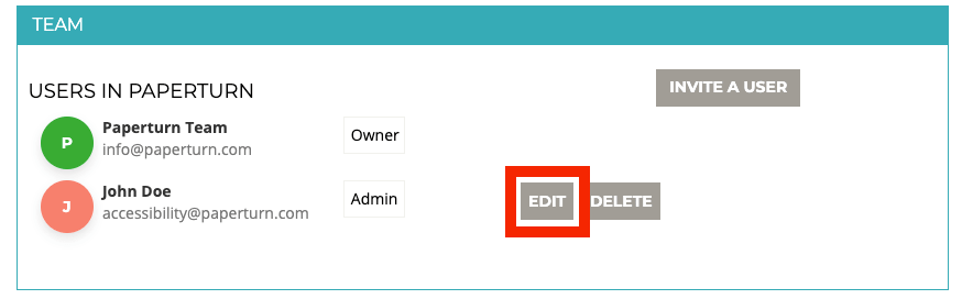 """Within the """"Team"""" tab, the option """"EDIT"""" is highlighted"""