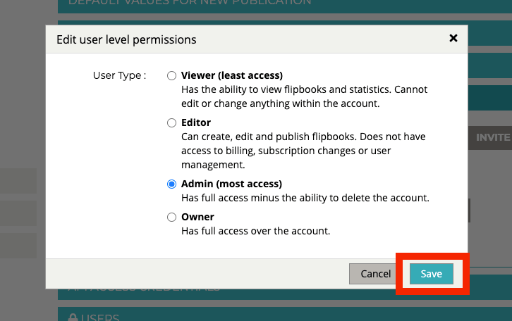 """""""Edit user level permissions"""" pop-up displays. The button """"SAVE"""" is highlighted."""