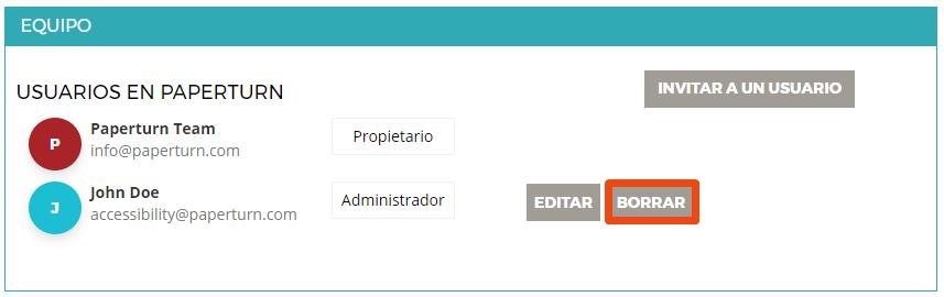 """La configuración de la cuenta de un usuario está abierta, junto con la pestaña """"Equipo"""". La opción """"BORRAR"""" está resaltada"""