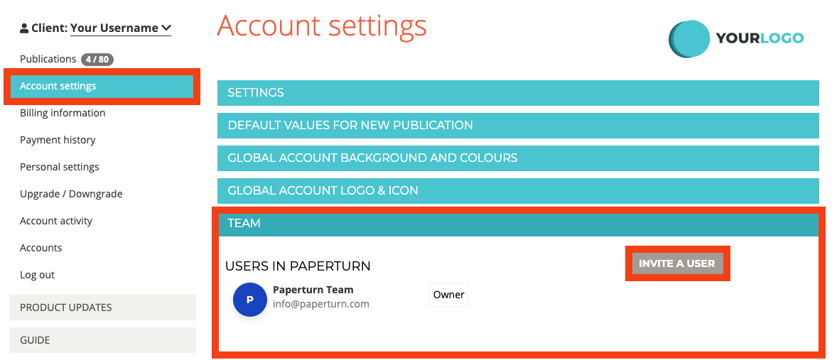 """A user's account settings are open. The tab """"Team"""" along with the option """"Invite a user"""" are highlited"""
