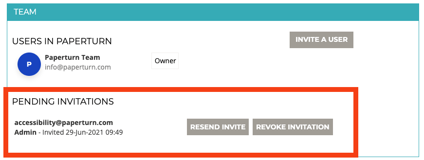 Screenshot of the teams tab, showing a pending invitation