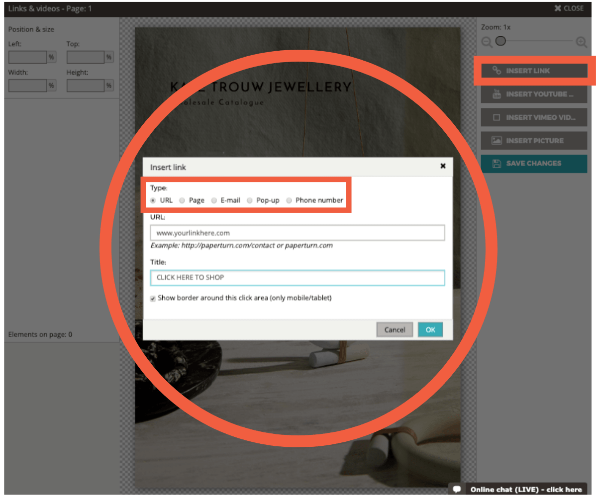 Choose a link option from either URL, page, e-mail, pop-up or phone number