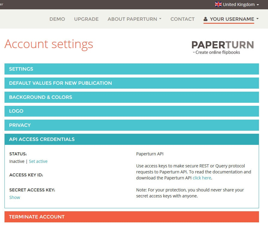 Account settings in Paperturn website