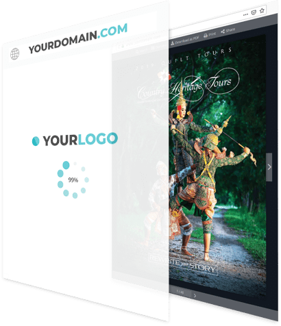 A flipbook being overlapped by a an image that shows a customised logo and domain
