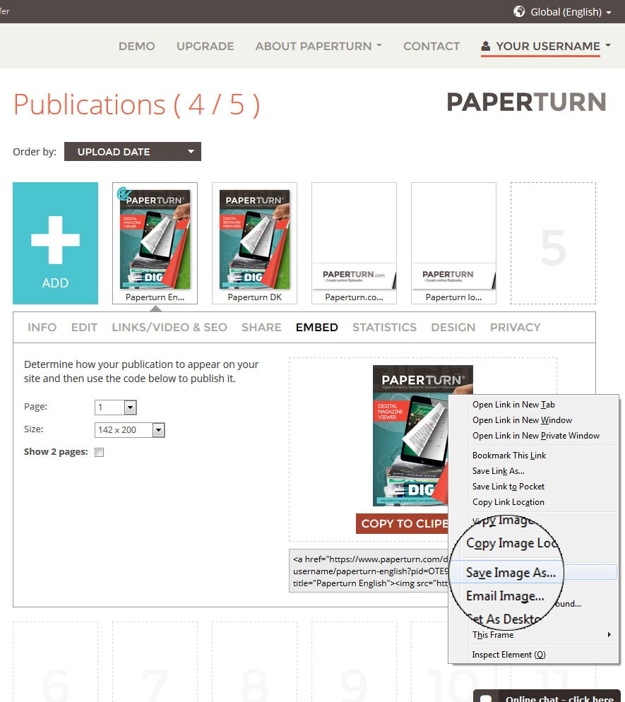 how to insert and embed a flipbook in an email using picture