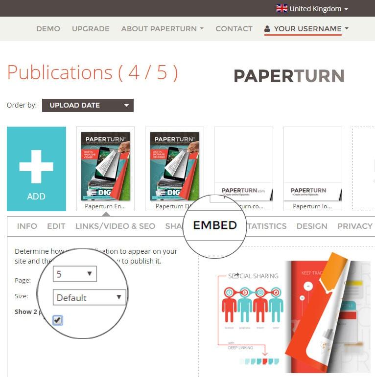 Embed menu in Paperturn website