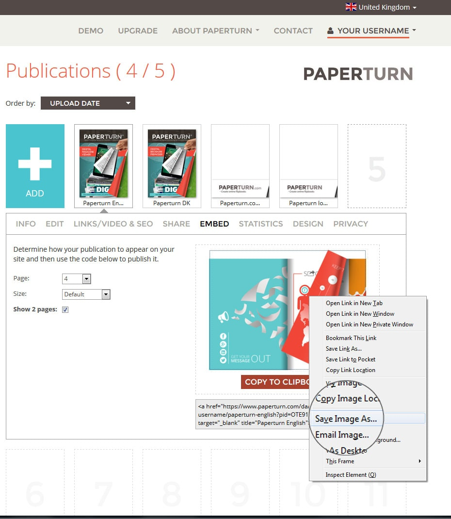 Saving the image from Paperturn website